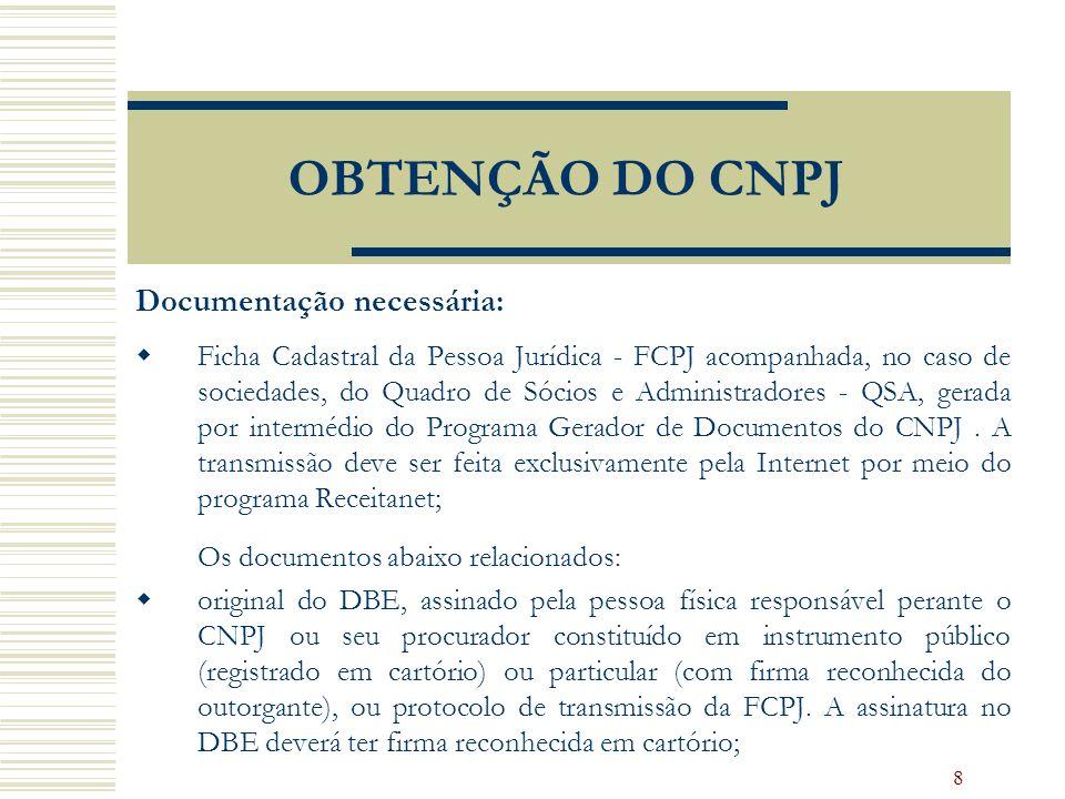 OBTENÇÃO DO CNPJ Documentação necessária: