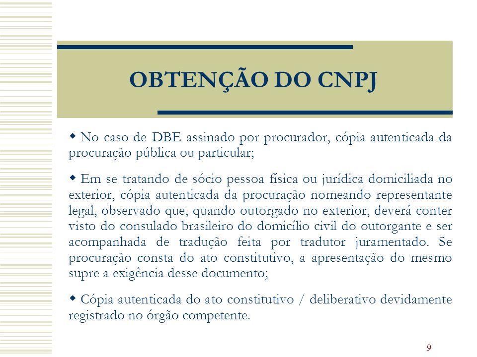 OBTENÇÃO DO CNPJ No caso de DBE assinado por procurador, cópia autenticada da procuração pública ou particular;