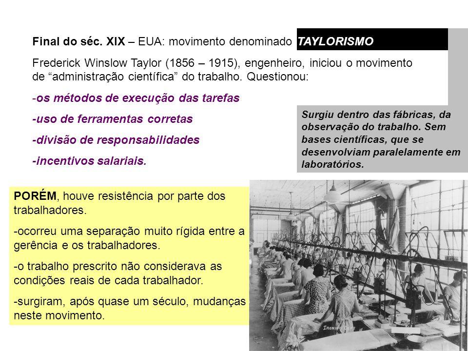 Final do séc. XIX – EUA: movimento denominado TAYLORISMO