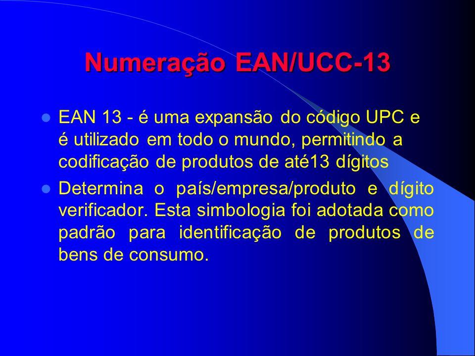 Numeração EAN/UCC-13 EAN 13 - é uma expansão do código UPC e é utilizado em todo o mundo, permitindo a codificação de produtos de até13 dígitos.