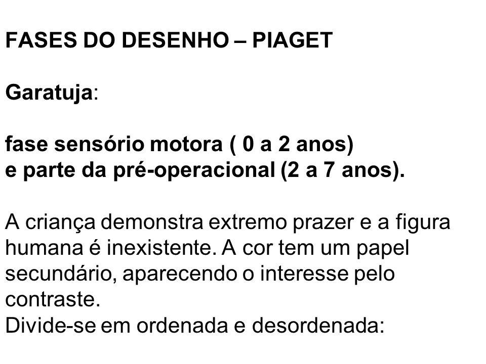 FASES DO DESENHO – PIAGET Garatuja: fase sensório motora ( 0 a 2 anos) e parte da pré-operacional (2 a 7 anos).