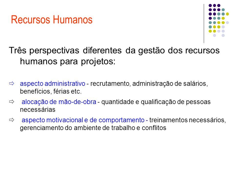 Recursos Humanos Três perspectivas diferentes da gestão dos recursos humanos para projetos: