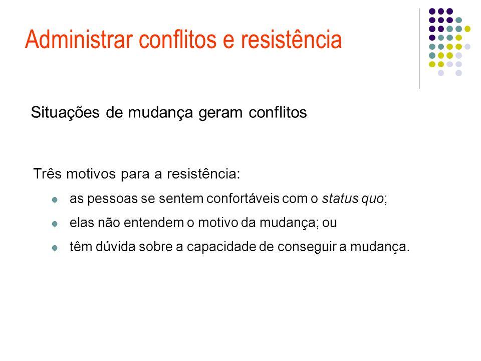 Administrar conflitos e resistência