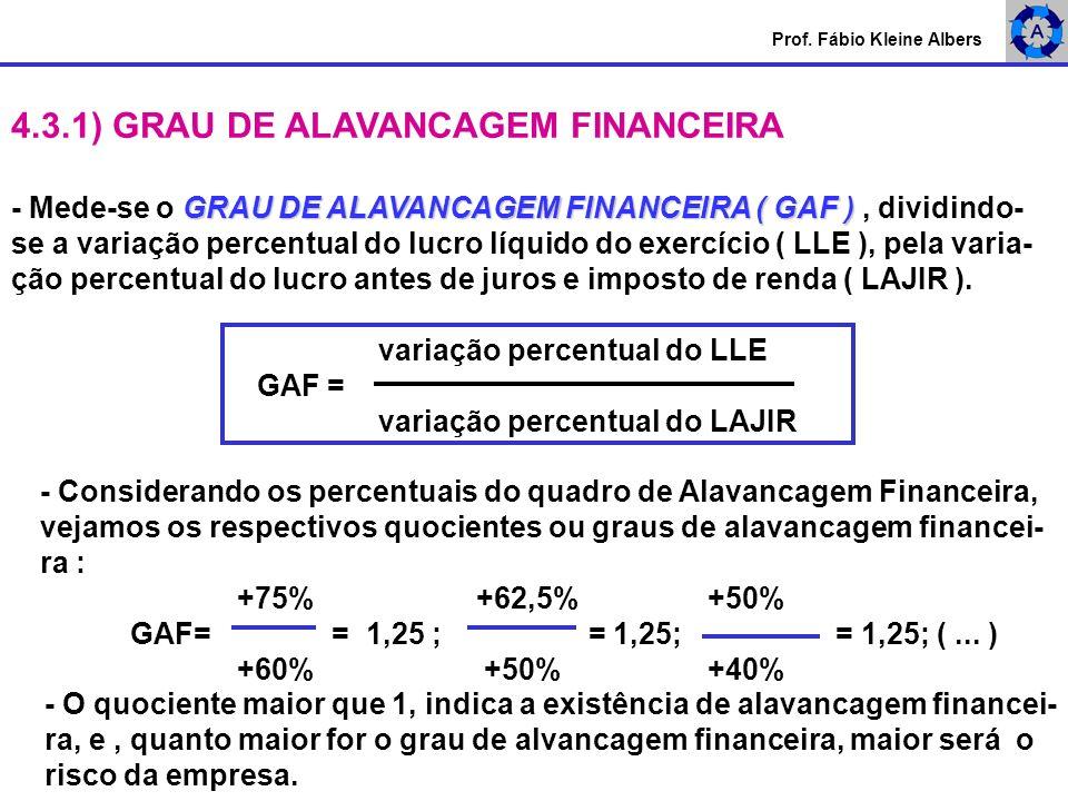 4.3.1) GRAU DE ALAVANCAGEM FINANCEIRA