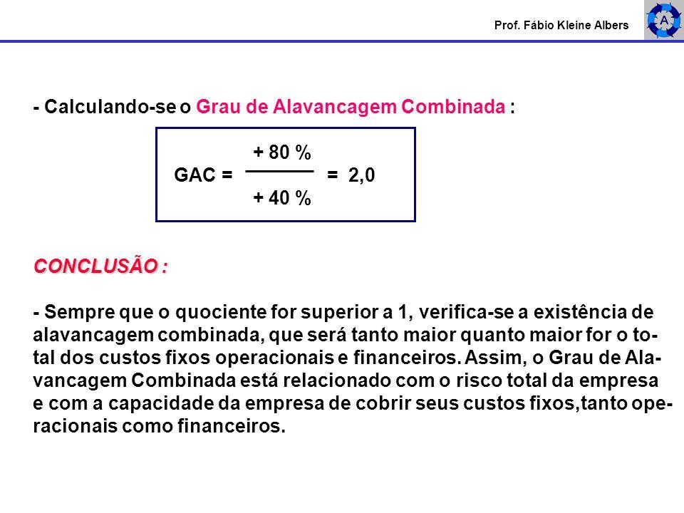 - Calculando-se o Grau de Alavancagem Combinada : + 80 % GAC = = 2,0