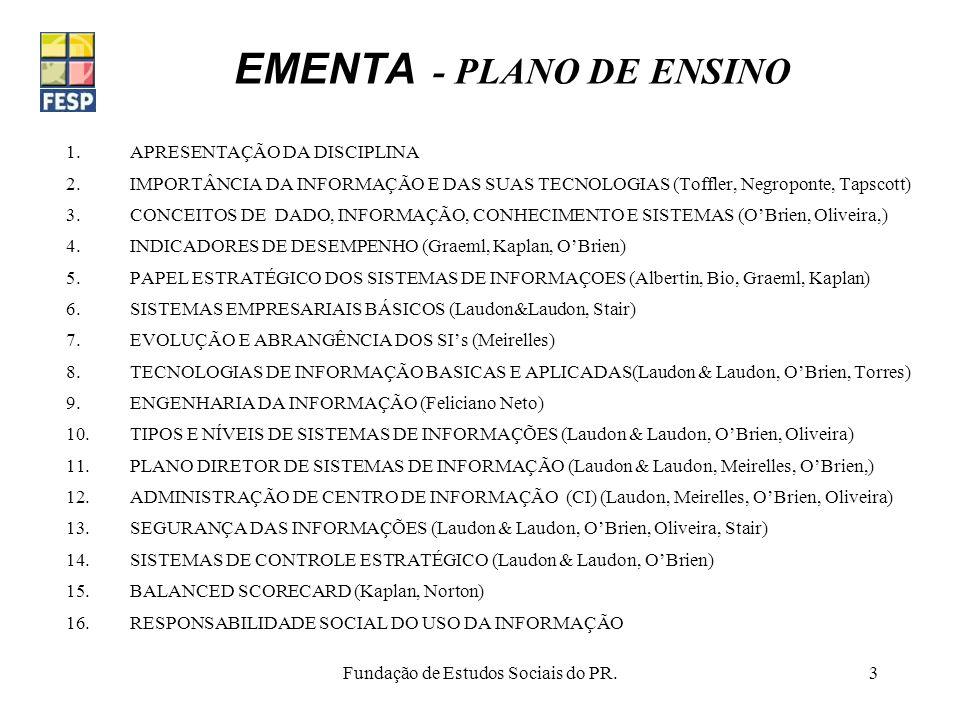 EMENTA - PLANO DE ENSINO