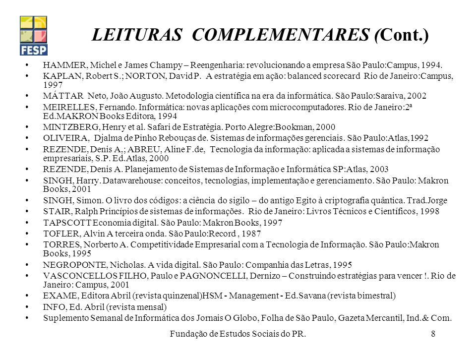 LEITURAS COMPLEMENTARES (Cont.)