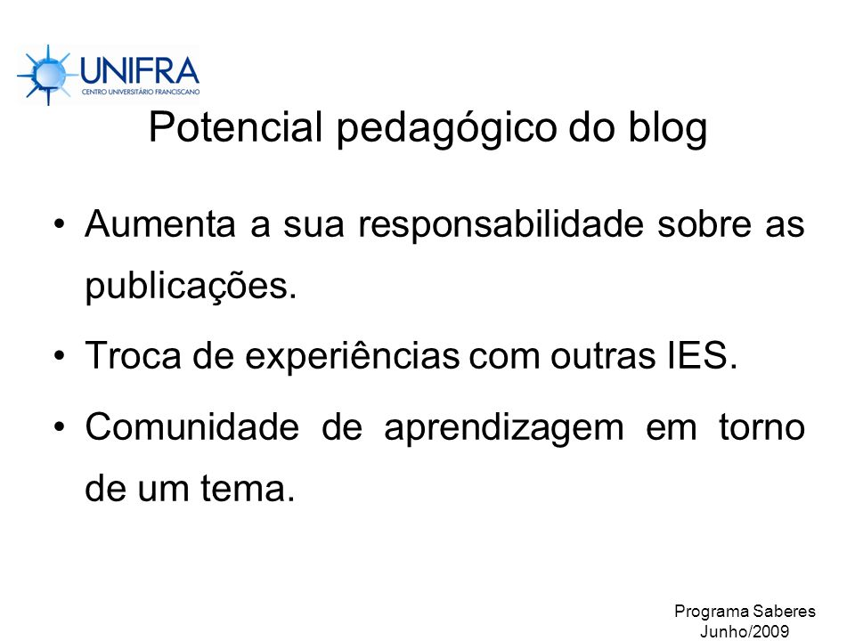 Potencial pedagógico do blog