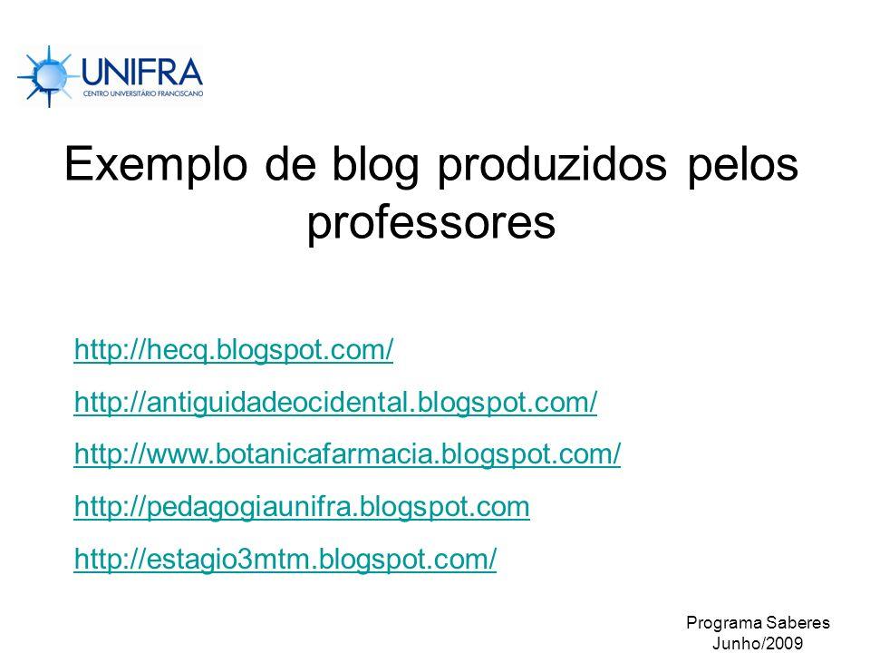 Exemplo de blog produzidos pelos professores