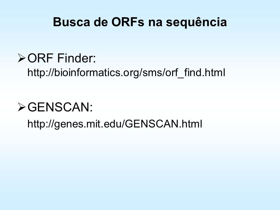 Busca de ORFs na sequência