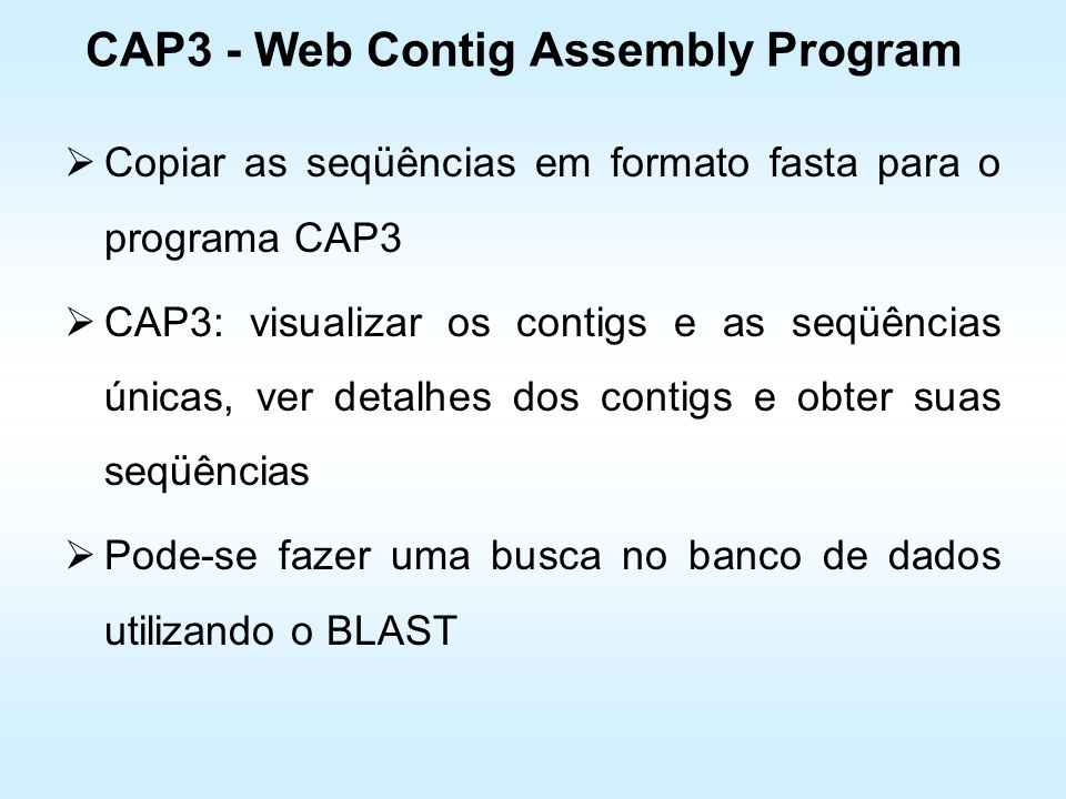 CAP3 - Web Contig Assembly Program