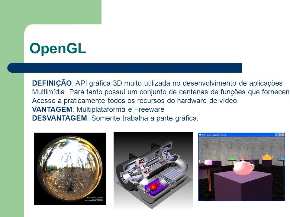 OpenGL DEFINIÇÃO: API gráfica 3D muito utilizada no desenvolvimento de aplicações.