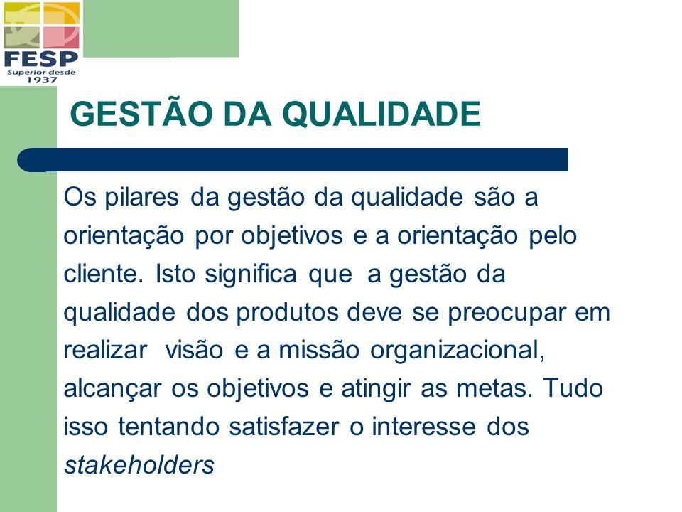GESTÃO DA QUALIDADE Os pilares da gestão da qualidade são a