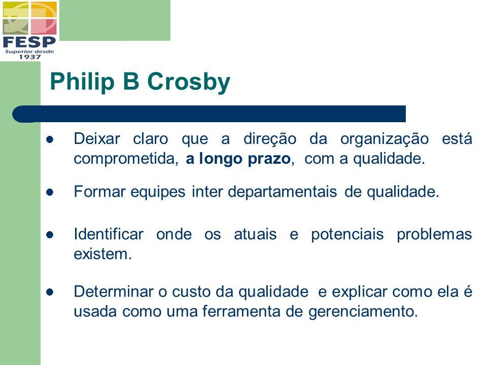 Philip B Crosby Deixar claro que a direção da organização está comprometida, a longo prazo, com a qualidade.