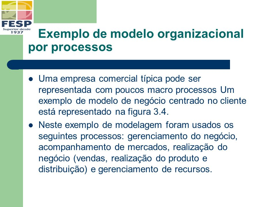 Exemplo de modelo organizacional por processos