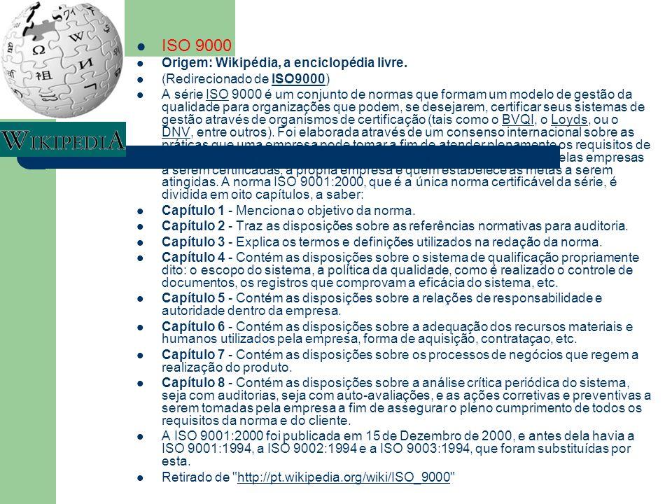 ISO 9000 Origem: Wikipédia, a enciclopédia livre.