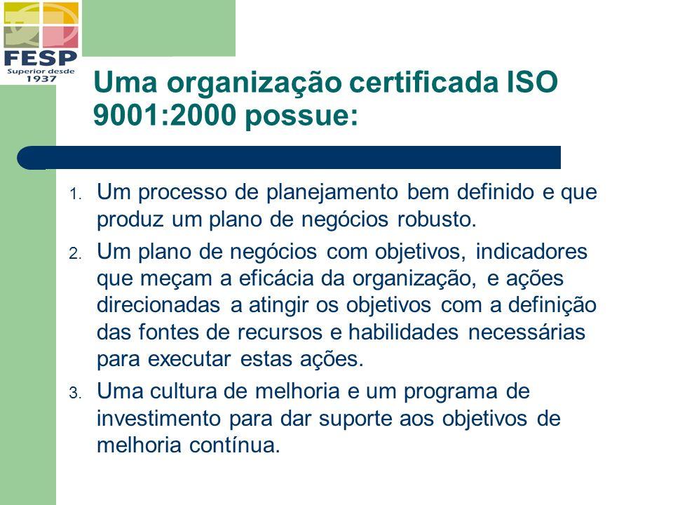 Uma organização certificada ISO 9001:2000 possue: