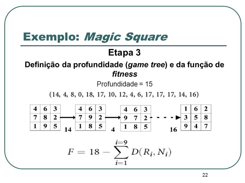 Definição da profundidade (game tree) e da função de fitness