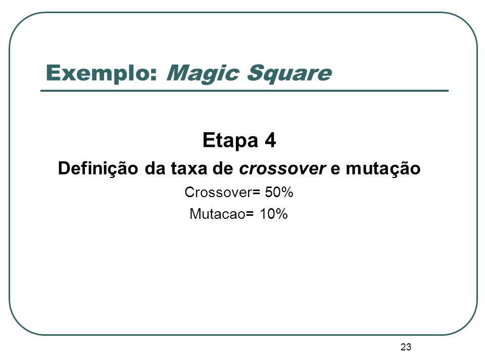 Definição da taxa de crossover e mutação