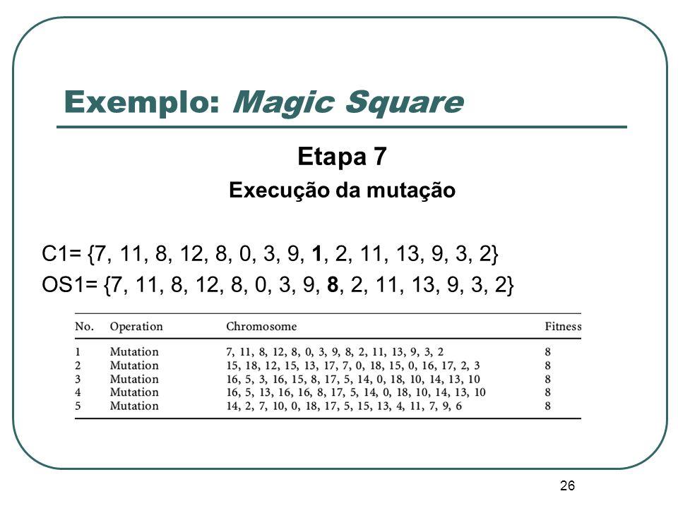 Exemplo: Magic Square Etapa 7 Execução da mutação