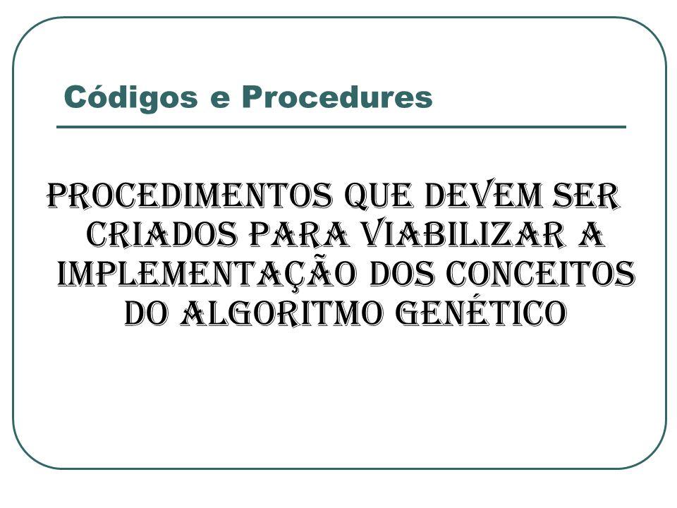 Códigos e Procedures Procedimentos que devem ser criados para viabilizar a implementação dos conceitos do Algoritmo Genético.