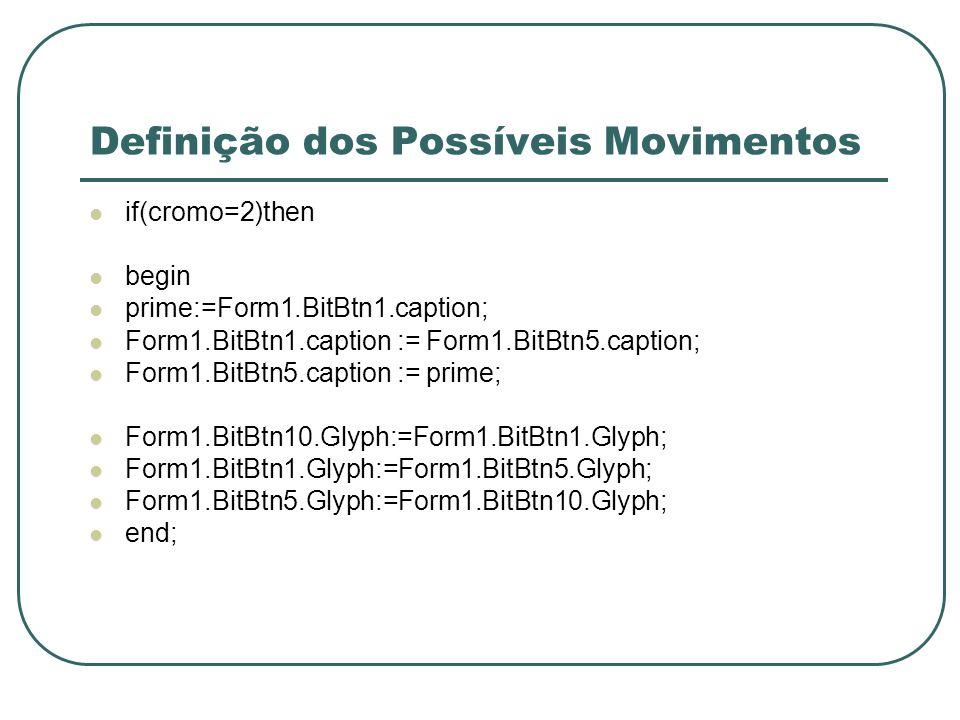 Definição dos Possíveis Movimentos