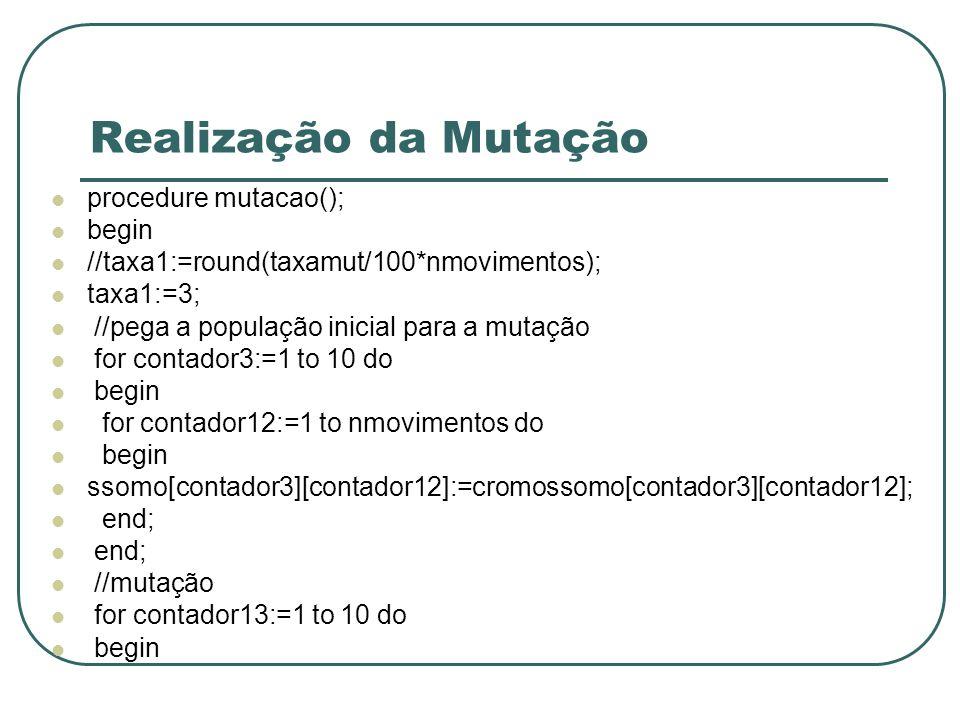 Realização da Mutação procedure mutacao(); begin