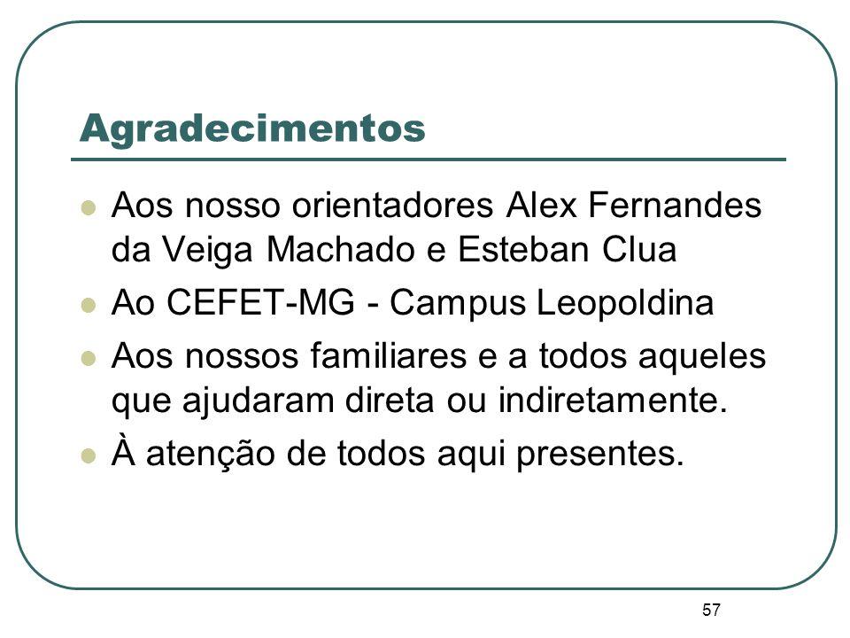 Agradecimentos Aos nosso orientadores Alex Fernandes da Veiga Machado e Esteban Clua. Ao CEFET-MG - Campus Leopoldina.