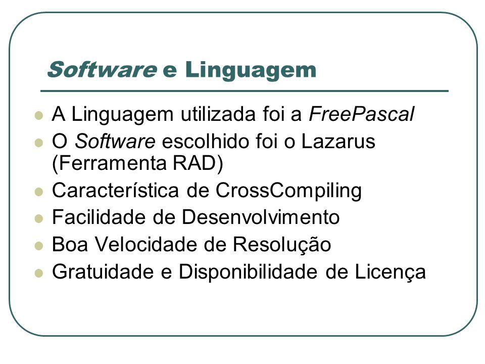 Software e Linguagem A Linguagem utilizada foi a FreePascal