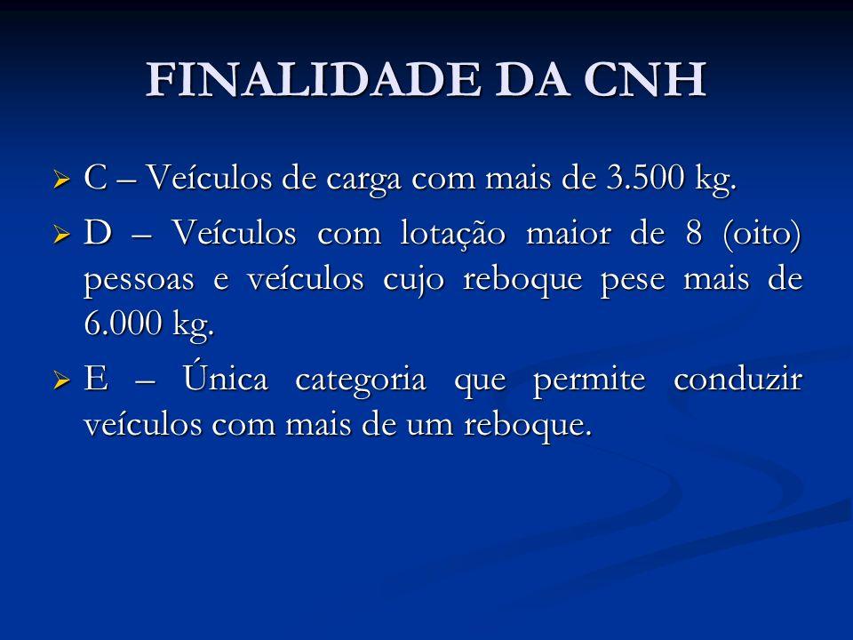 FINALIDADE DA CNH C – Veículos de carga com mais de 3.500 kg.
