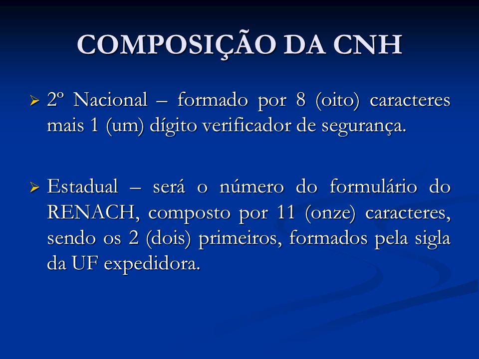 COMPOSIÇÃO DA CNH2º Nacional – formado por 8 (oito) caracteres mais 1 (um) dígito verificador de segurança.