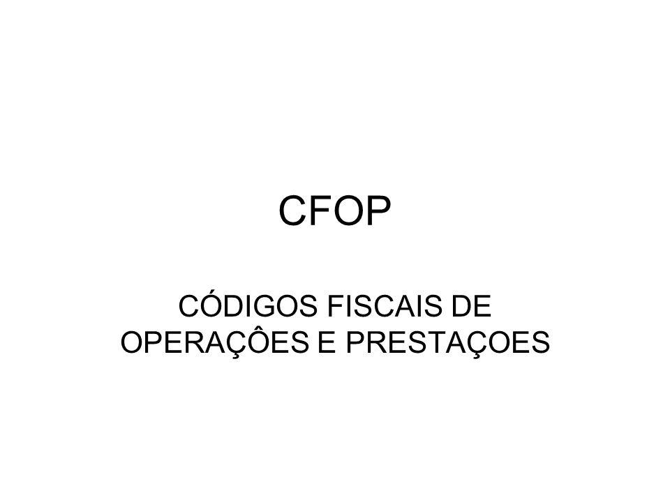 CÓDIGOS FISCAIS DE OPERAÇÔES E PRESTAÇOES