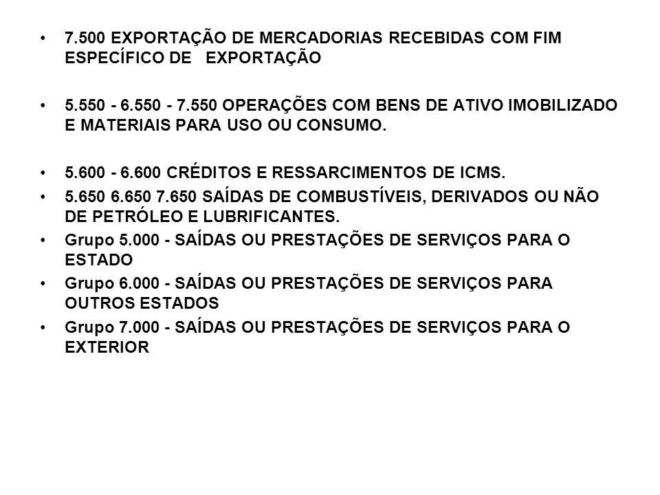 7.500 EXPORTAÇÃO DE MERCADORIAS RECEBIDAS COM FIM ESPECÍFICO DE EXPORTAÇÃO