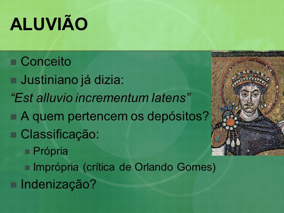 ALUVIÃO Conceito Justiniano já dizia: Est alluvio incrementum latens