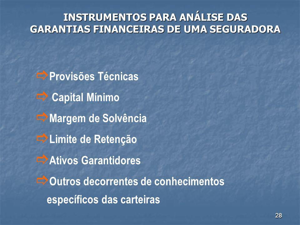 INSTRUMENTOS PARA ANÁLISE DAS GARANTIAS FINANCEIRAS DE UMA SEGURADORA