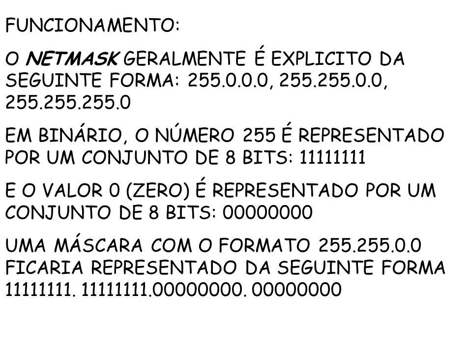 FUNCIONAMENTO: O NETMASK GERALMENTE É EXPLICITO DA SEGUINTE FORMA: 255.0.0.0, 255.255.0.0, 255.255.255.0.