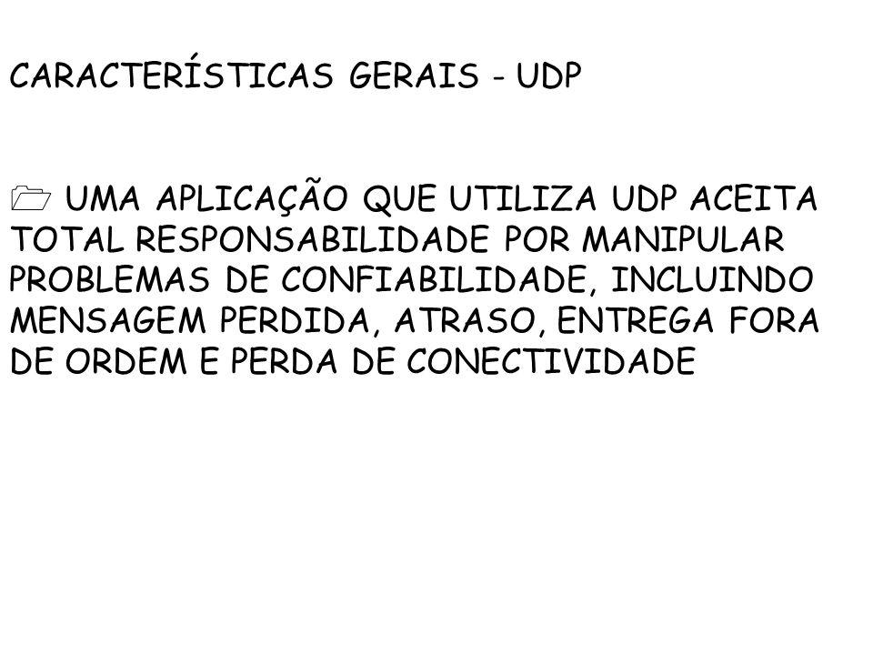CARACTERÍSTICAS GERAIS - UDP