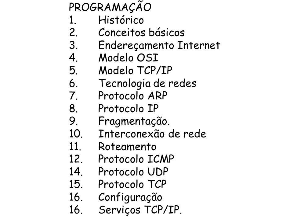 PROGRAMAÇÃO 1. Histórico. 2. Conceitos básicos. 3. Endereçamento Internet. 4. Modelo OSI. 5. Modelo TCP/IP.