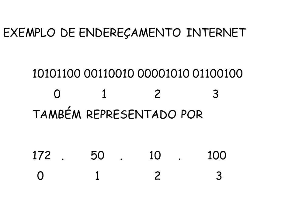 EXEMPLO DE ENDEREÇAMENTO INTERNET