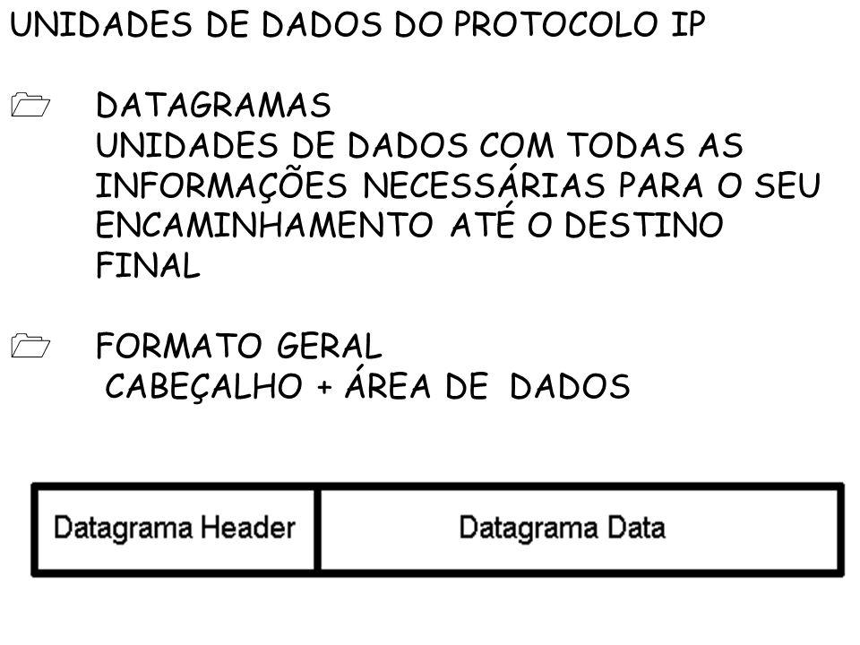 UNIDADES DE DADOS DO PROTOCOLO IP