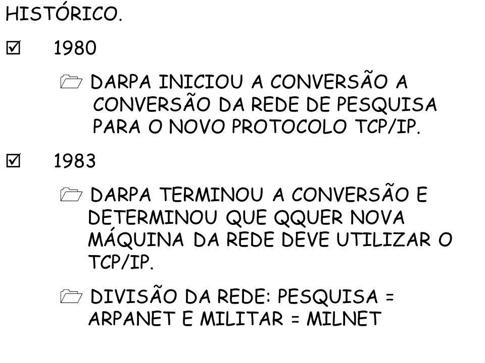 HISTÓRICO.  1980.  DARPA INICIOU A CONVERSÃO A CONVERSÃO DA REDE DE PESQUISA PARA O NOVO PROTOCOLO TCP/IP.
