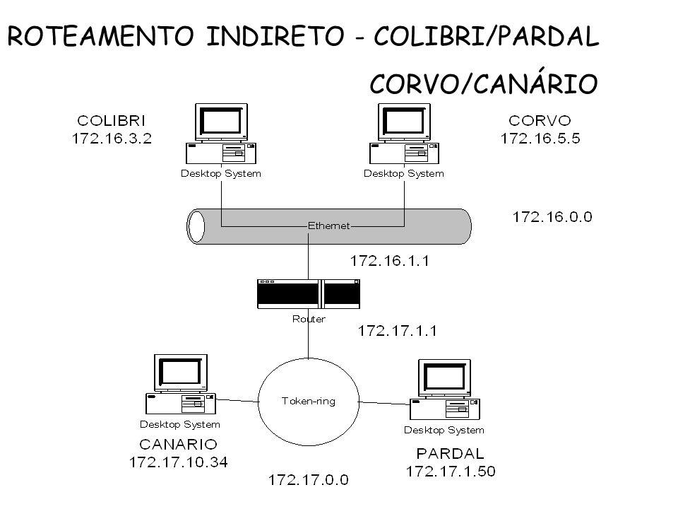 ROTEAMENTO INDIRETO - COLIBRI/PARDAL