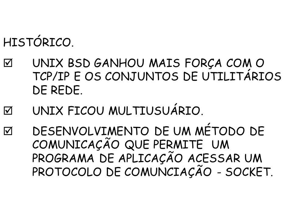HISTÓRICO.  UNIX BSD GANHOU MAIS FORÇA COM O TCP/IP E OS CONJUNTOS DE UTILITÁRIOS DE REDE.  UNIX FICOU MULTIUSUÁRIO.