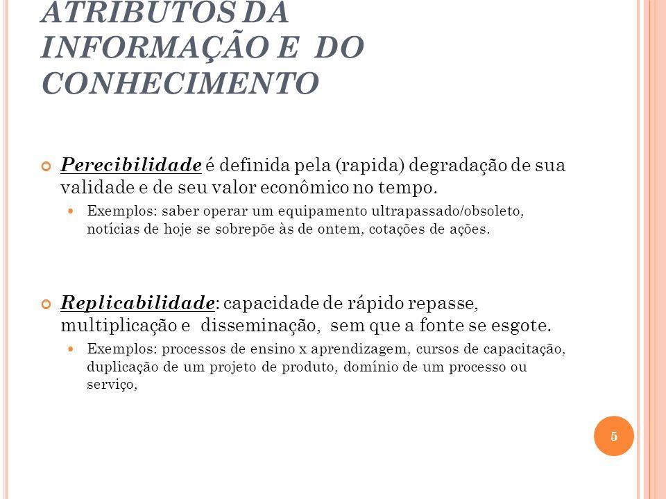 CARACTERISTICAS / ATRIBUTOS DA INFORMAÇÃO E DO CONHECIMENTO