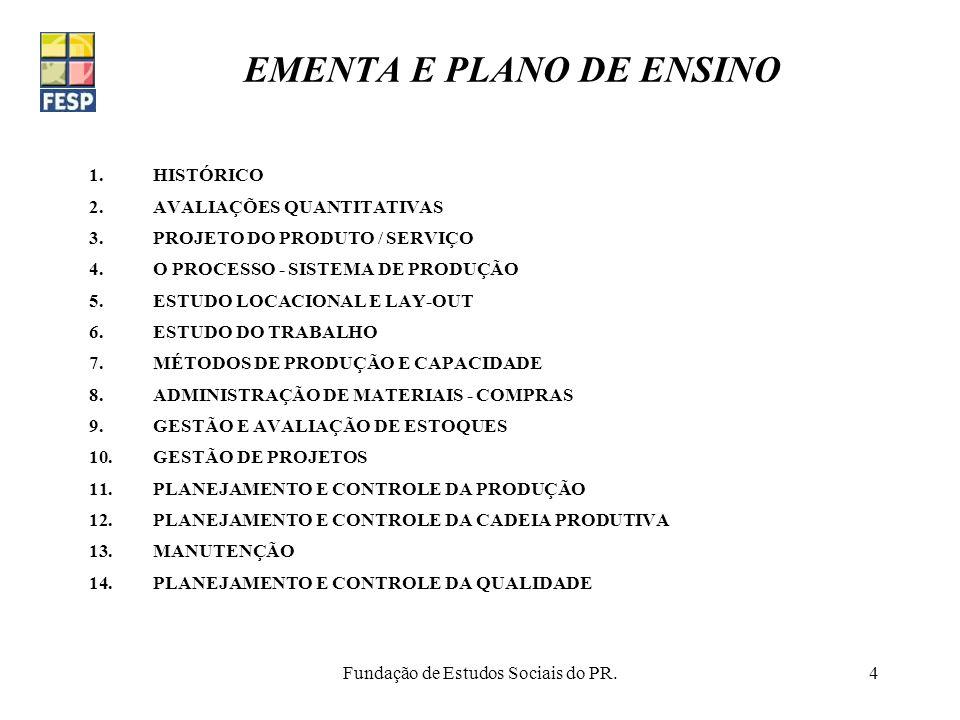 EMENTA E PLANO DE ENSINO