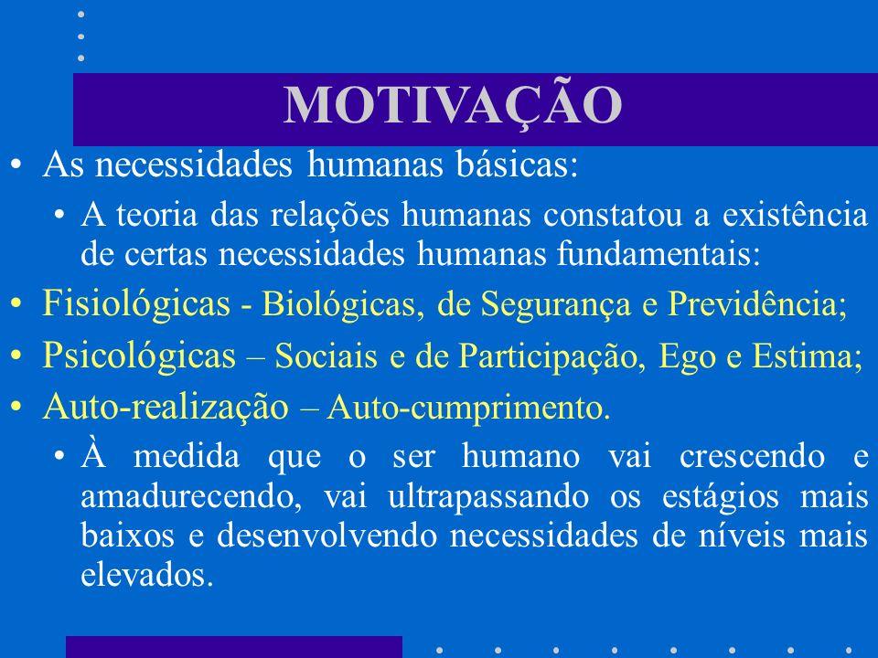 MOTIVAÇÃO As necessidades humanas básicas: