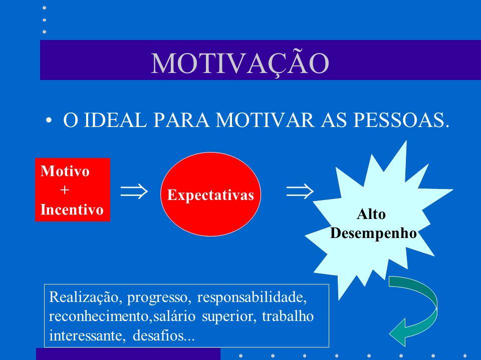 MOTIVAÇÃO O IDEAL PARA MOTIVAR AS PESSOAS.   Motivo + Expectativas