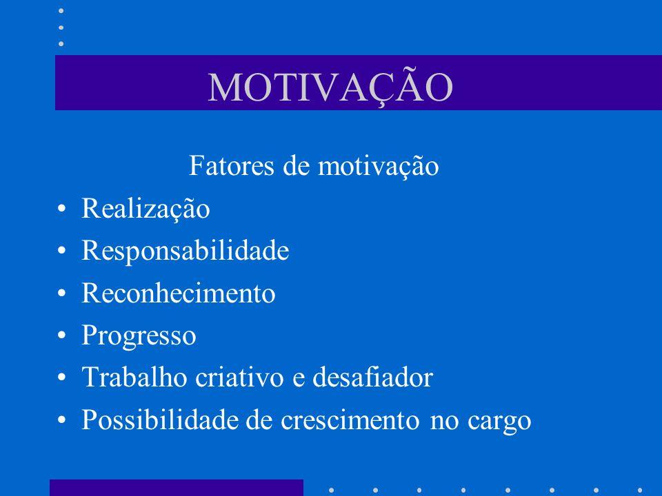 MOTIVAÇÃO Fatores de motivação Realização Responsabilidade