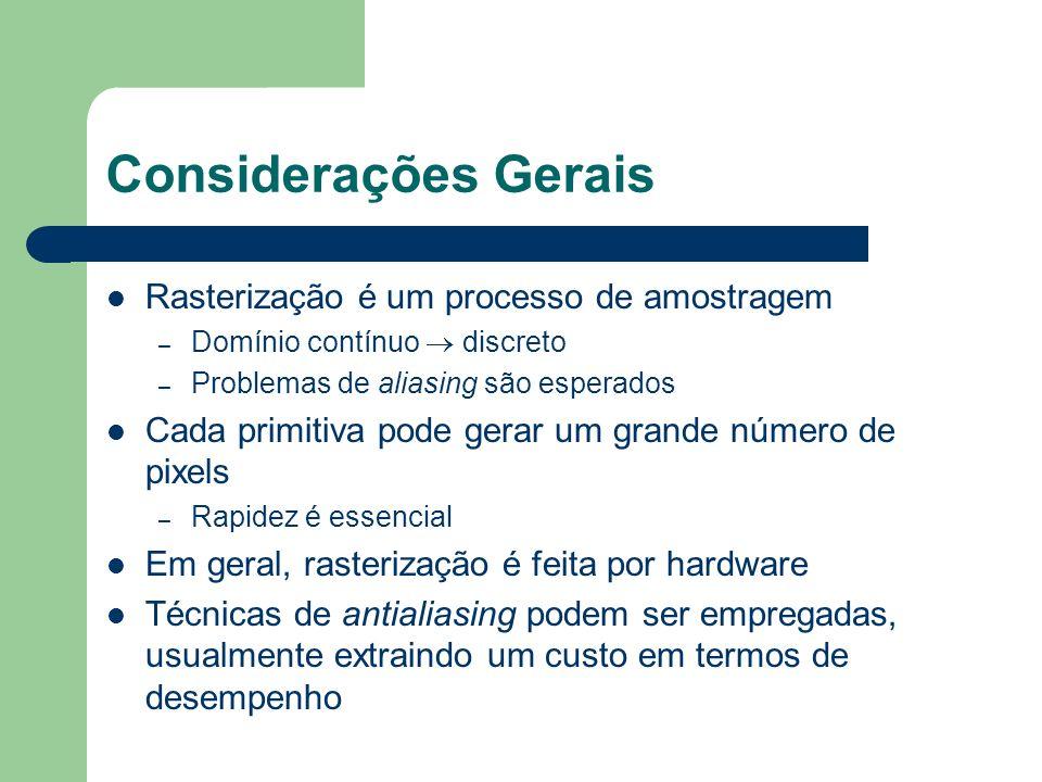 Considerações Gerais Rasterização é um processo de amostragem