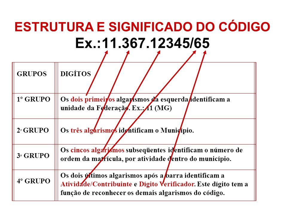 ESTRUTURA E SIGNIFICADO DO CÓDIGO Ex.:11.367.12345/65